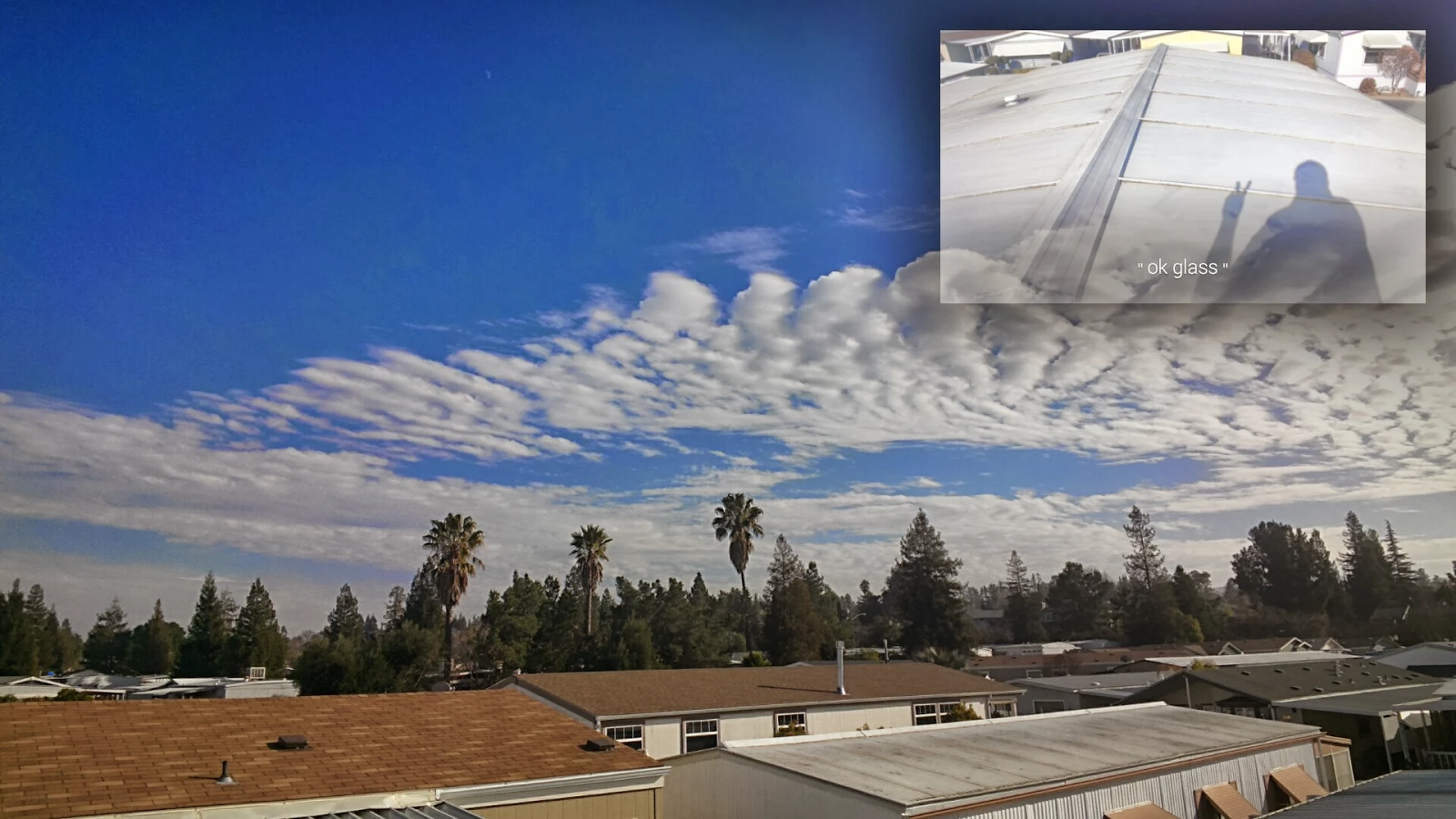 Inspecting a mobile home roof using Google Glass.